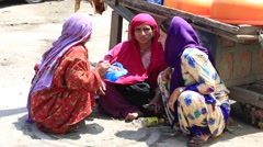Indian women in the market. Kashmir, Srinagar, India Stock Footage