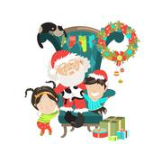 Santa Clause with happy kids - stock illustration
