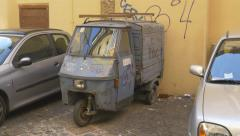 Piaggio Ape light commercial vehicle in Rome, Italy. - stock footage