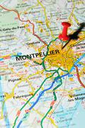 Montpellier, France marked with red pushpin on map - stock photo