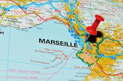 Marseille, France marked with red pushpin on map - stock photo