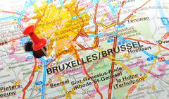 Brussels, Belgium marked with red pushpin on map Stock Photos