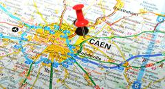 Caen, France marked with red pushpin on map Stock Photos