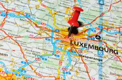 Luxembourg marked with red pushpin on map Stock Photos
