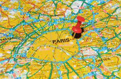 Paris, France marked with red pushpin on map - stock photo