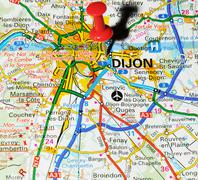 Dijon, France marked with red pushpin on map Stock Photos