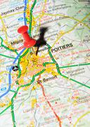 Poitiers, France marked with red pushpin on map - stock photo