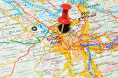 Basel, Switzerland marked with red pushpin on map - stock photo