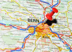 Bern, Switzerland marked with red pushpin on map Stock Photos