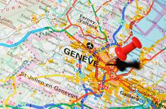 Geneve, Switzerland marked with red pushpin on map - stock photo
