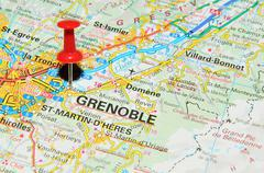 Grenoble, France marked with red pushpin on map - stock photo