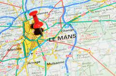 Le Mans, France marked with red pushpin on map - stock photo