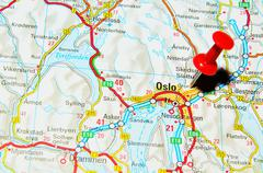 Oslo, Norway marked with red pushpin on map Stock Photos