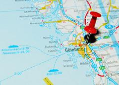 Göteborg, Sweden marked with red pushpin on map - stock photo