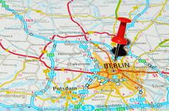 Berlin, Germany marked with red pushpin on map Stock Photos