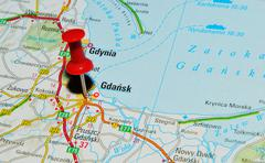 Gdansk, Poland marked with red pushpin on map - stock photo