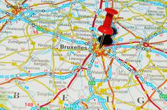 Brussels marked with red pushpin on map - stock photo