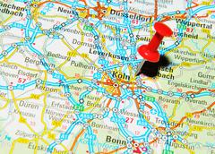 Köln, Germany marked with red pushpin on map Stock Photos