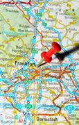 Frankfurt, Germany marked with red pushpin on map - stock photo