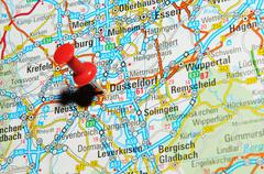 Düsseldorf , Germany marked with red pushpin on map Stock Photos