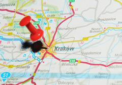 Krakow, Poland marked with red pushpin on map Stock Photos