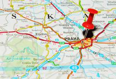 Prague, Czech Republic marked with red pushpin on map Stock Photos
