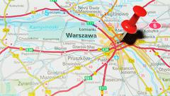 Warsaw, Poland marked with red pushpin on map - stock photo
