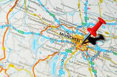 Munich, Germany marked with red pushpin on map - stock photo