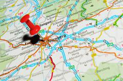 Nuremberg, Germany marked with red pushpin on map - stock photo