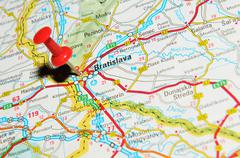 Bratislava, Slovakia marked with red pushpin on map - stock photo
