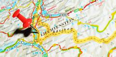 Lichtenstein marked with red pushpin on map - stock photo