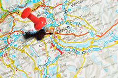 Zurich, Switzerland marked with red pushpin on map - stock photo