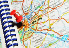 Milano, Italy marked with red pushpin on map Stock Photos