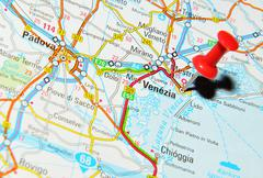 Venice, Italy marked with red pushpin on map Stock Photos