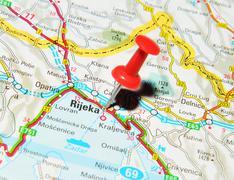 Rijeka, Croatia marked with red pushpin on map Stock Photos