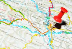 Graz, Austria marked with red pushpin on map Stock Photos