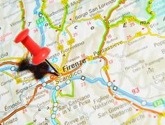 Florence, Italy marked with red pushpin on map Stock Photos