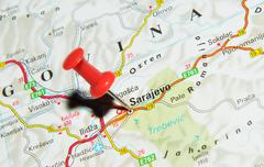 Sarajevo, Bosnia and Herzegovina marked with red pushpin on map Stock Photos