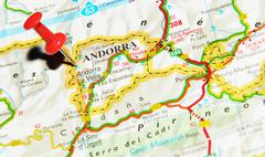 Andorra marked with red pushpin on map - stock photo