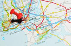 Lisbon, Portugal marked with red pushpin on map - stock photo