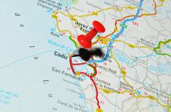 Cadiz, Spain marked with red pushpin on map - stock photo