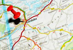 Cordoba, Spain marked with red pushpin on map - stock photo