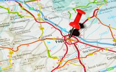 Foggia, Italy marked with red pushpin on map Stock Photos