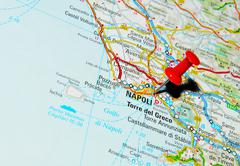 Napoli, Italy marked with red pushpin on map Stock Photos