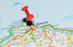 Palermo, Italy marked with red pushpin on map Stock Photos