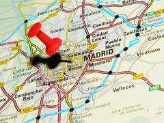 Madrid, Spain marked with red pushpin on map Stock Photos