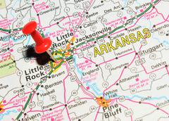 Little Rock, Arkansas marked with red pushpin on map Stock Photos