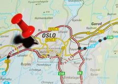Oslo, Norway marked with red pushpin on map - stock photo