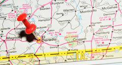 El Dorado marked with red pushpin on map - stock photo