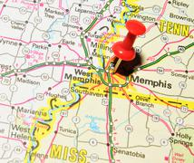 Memphis, Tennessee marked with red pushpin on map Kuvituskuvat